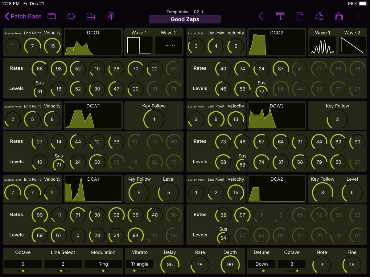 Casio CZ-1 Editor Screenshot