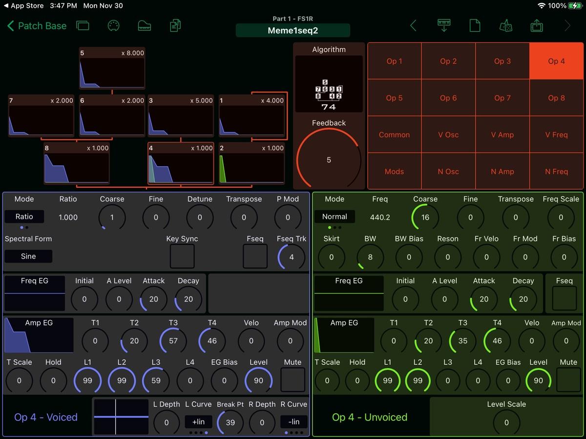 Yamaha FS1R Editor Screenshot