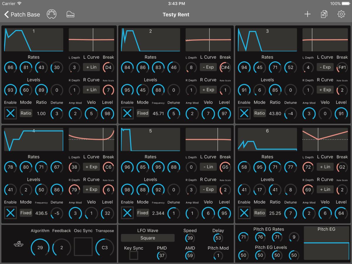 Yamaha TX7 Editor Screenshot