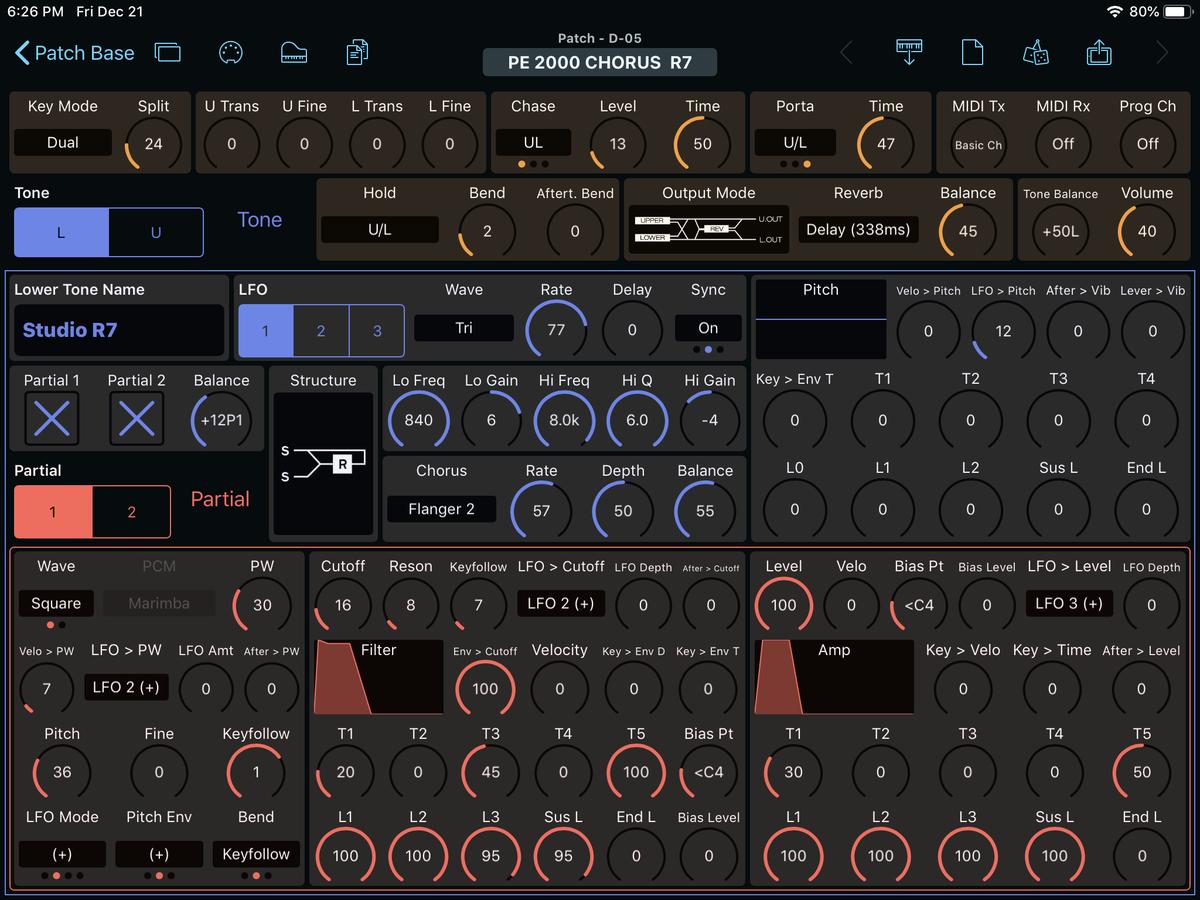Roland D-05 Editor Screenshot